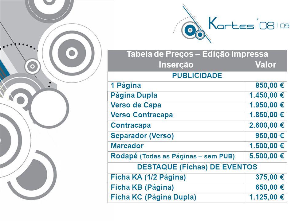 Tabela de Preços – Edição Impressa InserçãoValor PUBLICIDADE 1 Página850,00 € Página Dupla1.450,00 € Verso de Capa1.950,00 € Verso Contracapa1.850,00 € Contracapa2.600,00 € Separador (Verso)950,00 € Marcador1.500,00 € Rodapé (Todas as Páginas – sem PUB) 5.500,00 € DESTAQUE (Fichas) DE EVENTOS Ficha KA (1/2 Página)375,00 € Ficha KB (Página)650,00 € Ficha KC (Página Dupla)1.125,00 €