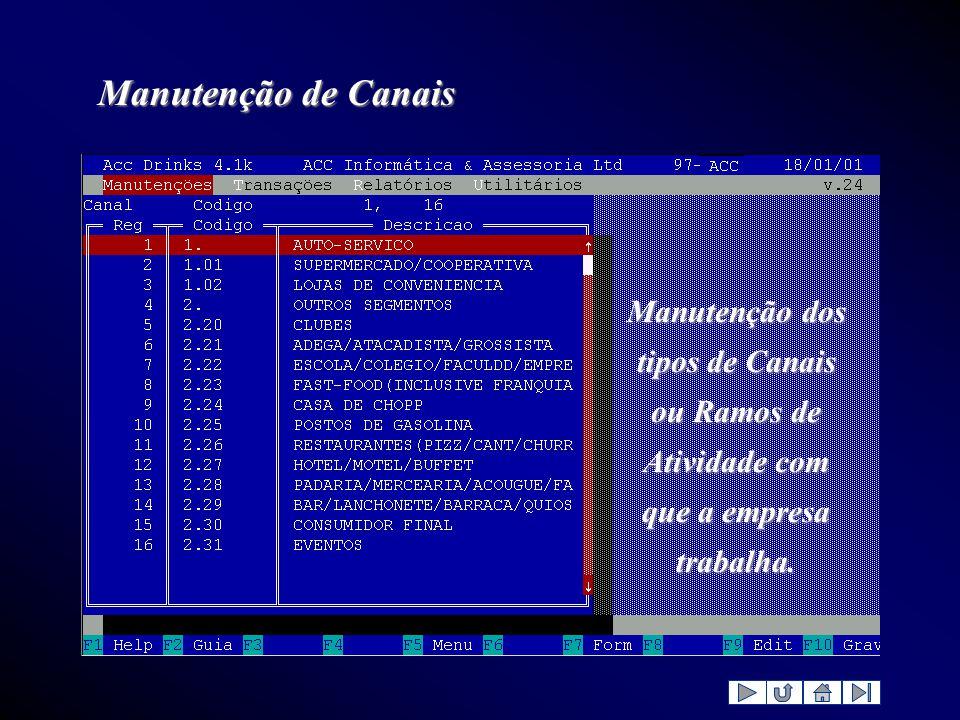 Manutenção de Canais Manutenção dos tipos de Canais ou Ramos de Atividade com que a empresa trabalha.