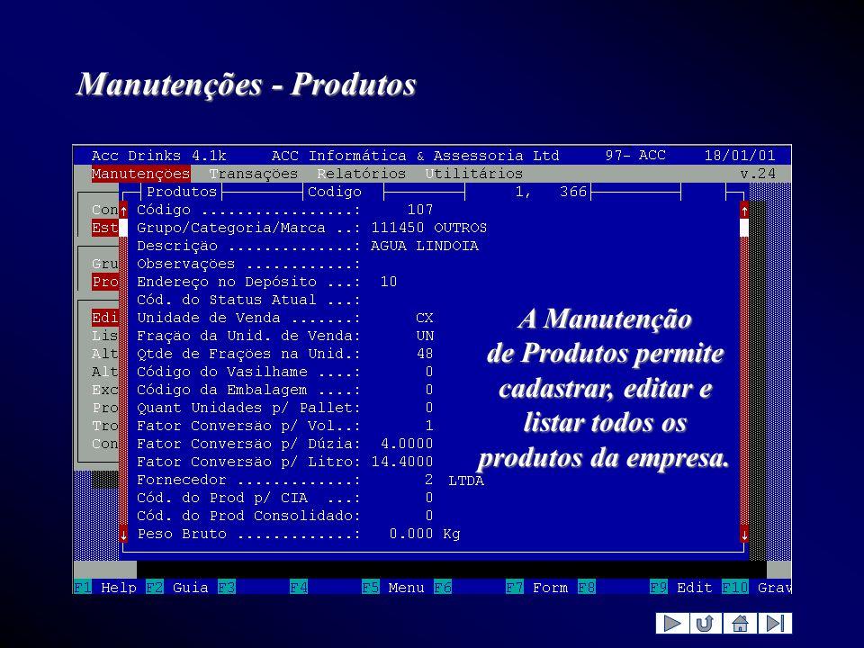 Manutenções - Produtos A Manutenção de Produtos permite cadastrar, editar e listar todos os produtos da empresa.