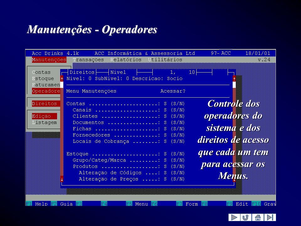 Manutenções - Operadores Controle dos operadores do sistema e dos direitos de acesso que cada um tem para acessar os Menus.