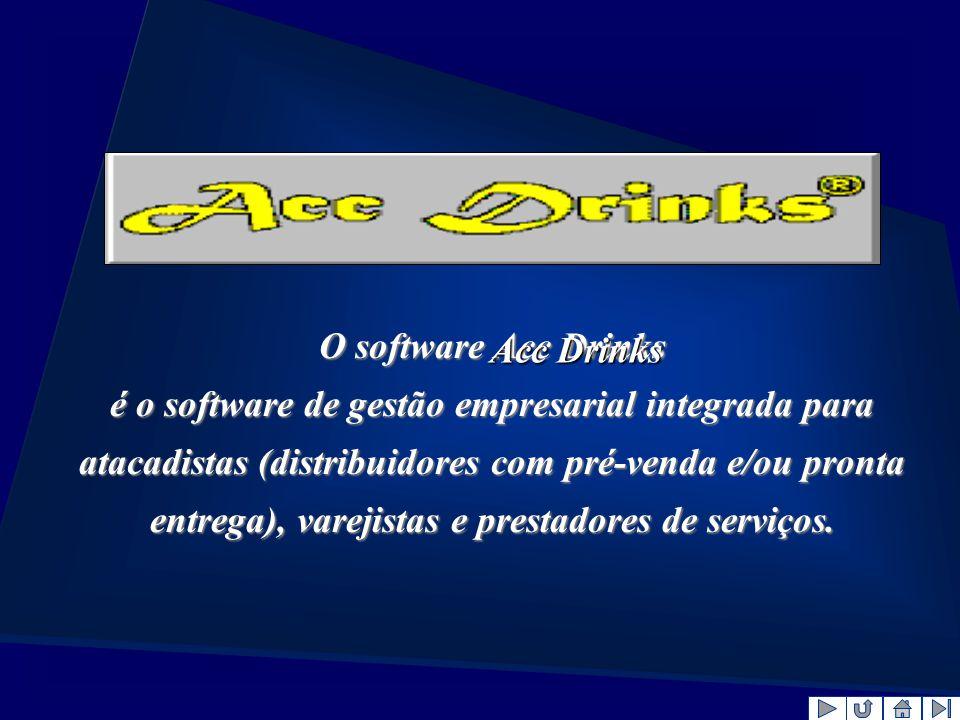 O software Acc Drinks é o software de gestão empresarial integrada para atacadistas (distribuidores com pré-venda e/ou pronta entrega), varejistas e p