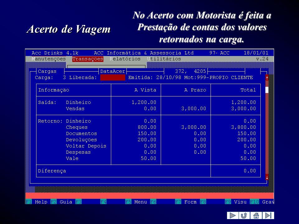 Acerto de Viagem No Acerto com Motorista é feita a Prestação de contas dos valores retornados na carga.