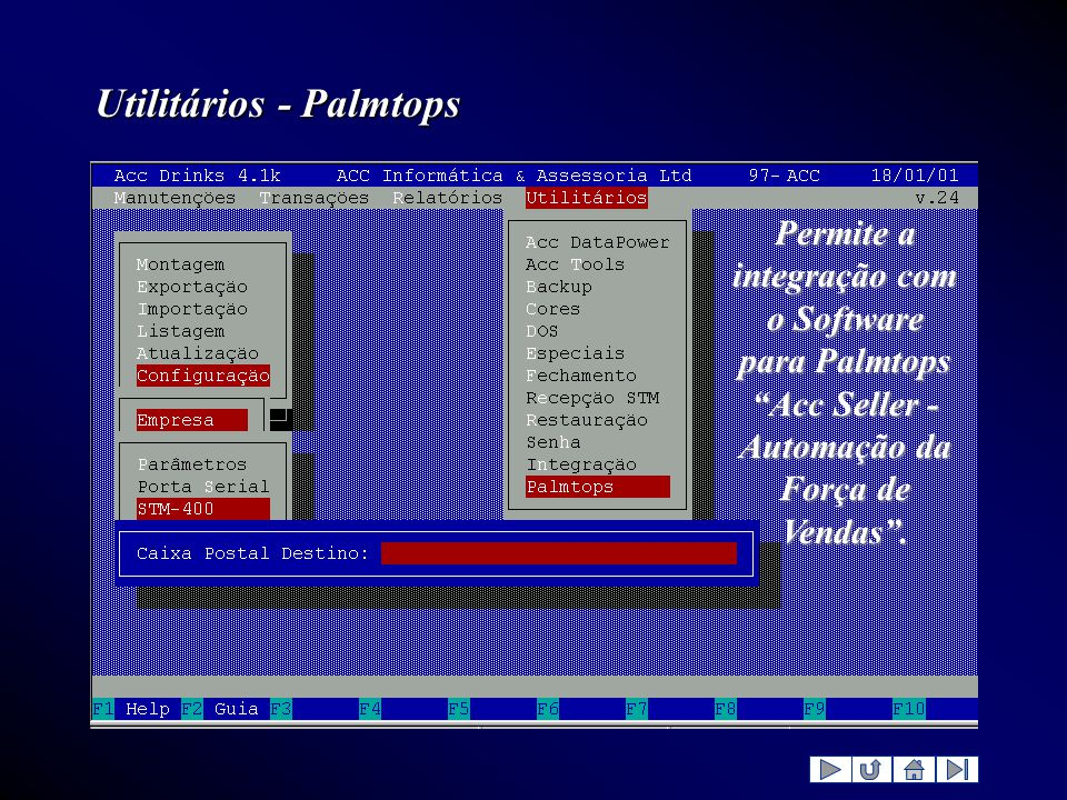 """Utilitários - Palmtops Permite a integração com o Software para Palmtops """"Acc Seller - Automação da Força de Vendas""""."""