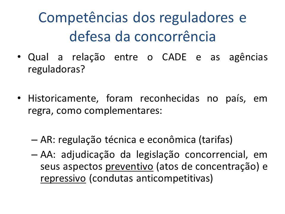 Competências dos reguladores e defesa da concorrência • Qual a relação entre o CADE e as agências reguladoras.