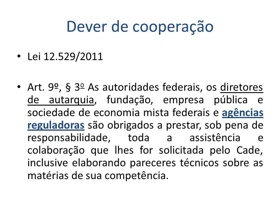 Dever de cooperação • Lei 12.529/2011 • Art.