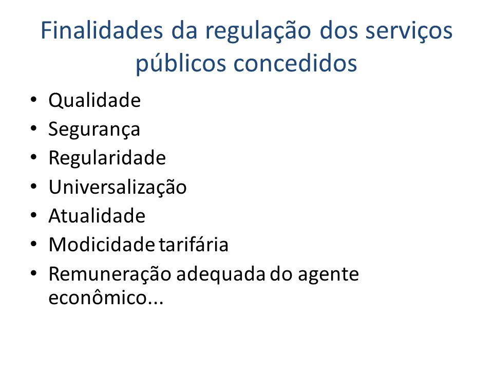 Finalidades da regulação dos serviços públicos concedidos • Qualidade • Segurança • Regularidade • Universalização • Atualidade • Modicidade tarifária • Remuneração adequada do agente econômico...