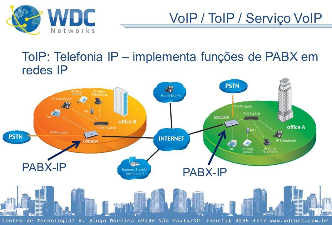 VoIP / ToIP / Serviço VoIP ToIP: Telefonia IP – implementa funções de PABX em redes IP PABX-IP PABX-IP