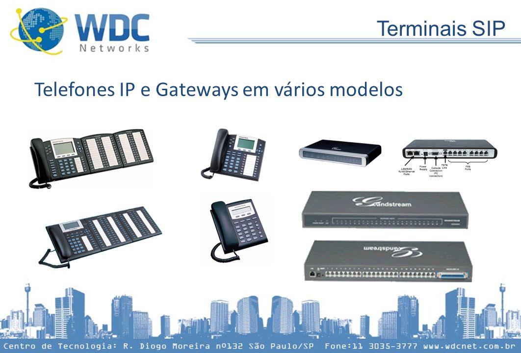 Telefones IP e Gateways em vários modelos