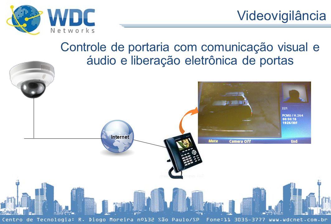 Controle de portaria com comunicação visual e áudio e liberação eletrônica de portas Internet Videovigilância