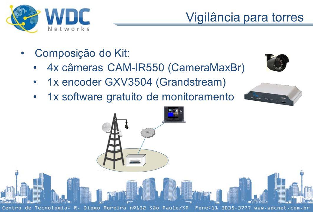 Vigilância para torres •Composição do Kit: •4x câmeras CAM-IR550 (CameraMaxBr) •1x encoder GXV3504 (Grandstream) •1x software gratuito de monitorament