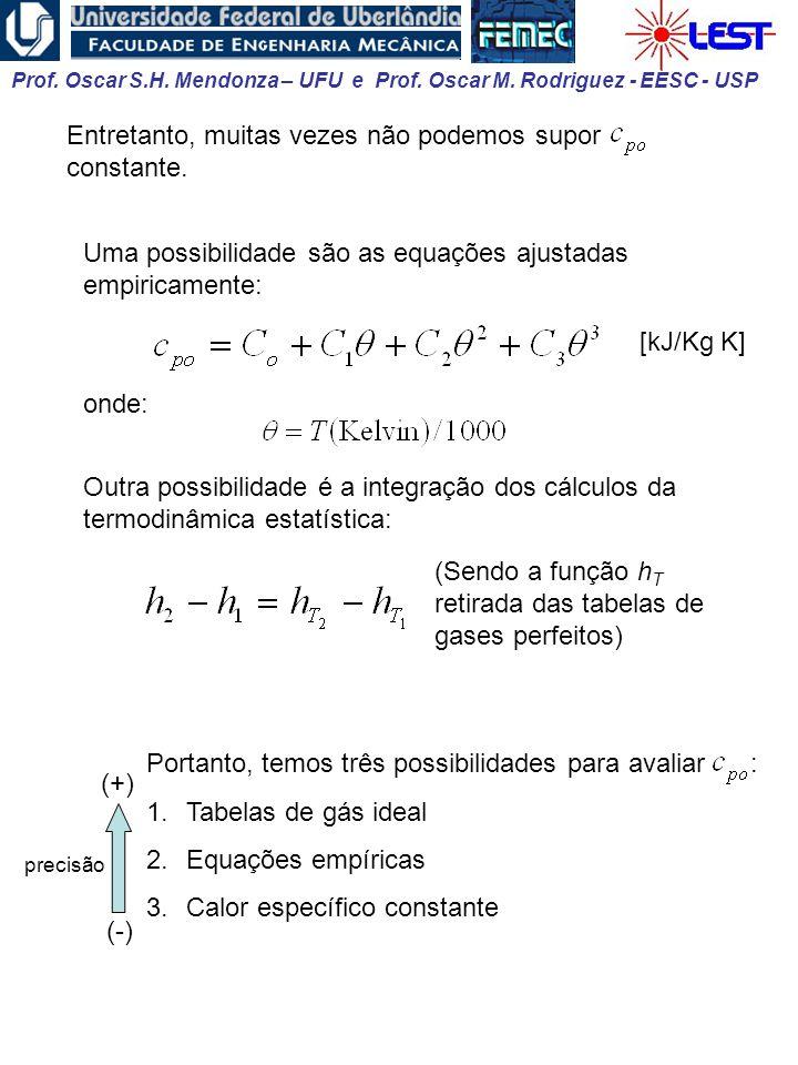 Prof. Oscar S.H. Mendonza – UFU e Prof. Oscar M. Rodriguez - EESC - USP Portanto, temos três possibilidades para avaliar : 1.Tabelas de gás ideal 2.Eq
