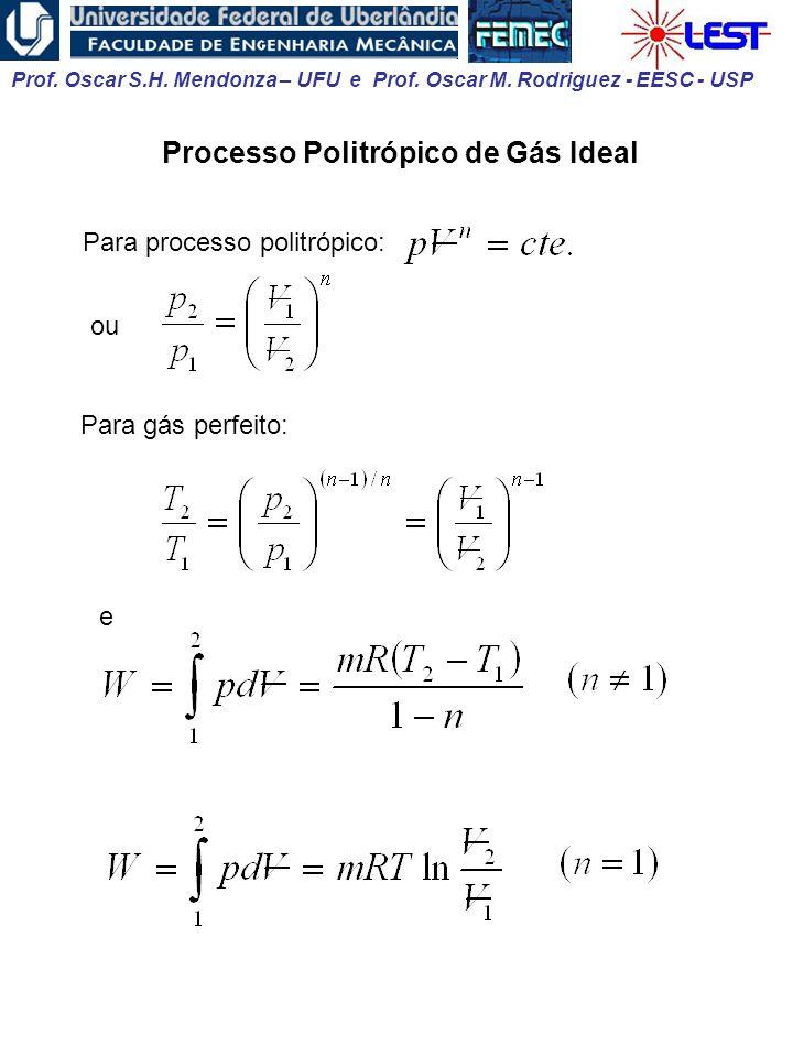Prof. Oscar S.H. Mendonza – UFU e Prof. Oscar M. Rodriguez - EESC - USP Processo Politrópico de Gás Ideal Para processo politrópico: ou Para gás perfe