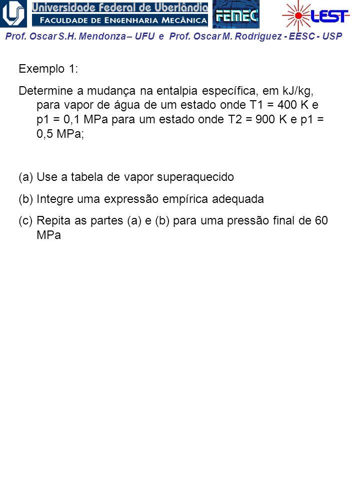 Prof. Oscar S.H. Mendonza – UFU e Prof. Oscar M. Rodriguez - EESC - USP Exemplo 1: Determine a mudança na entalpia específica, em kJ/kg, para vapor de
