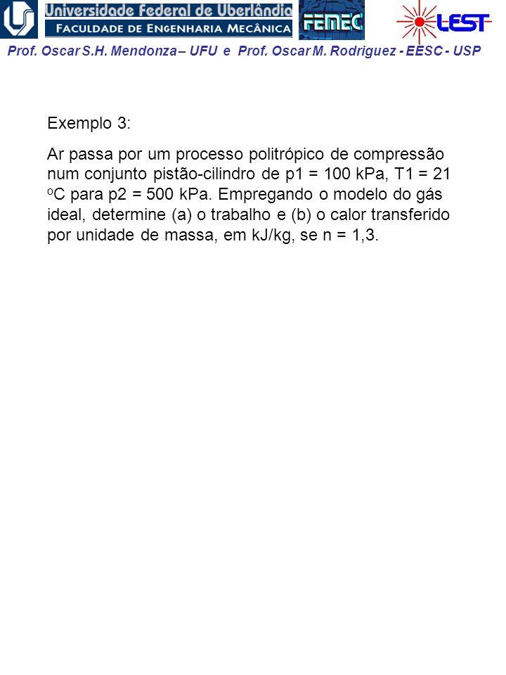 Prof. Oscar S.H. Mendonza – UFU e Prof. Oscar M. Rodriguez - EESC - USP Exemplo 3: Ar passa por um processo politrópico de compressão num conjunto pis