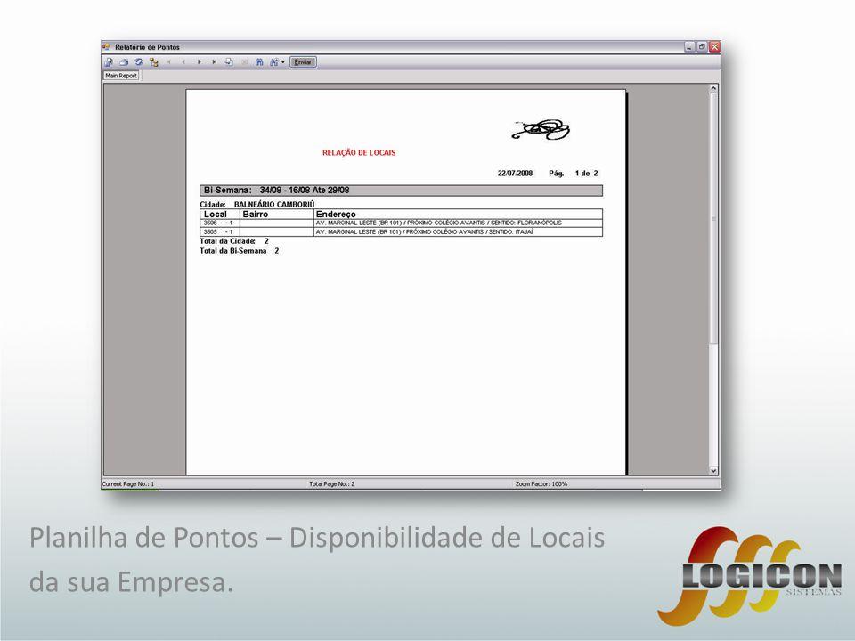 Planilha de Pontos – Disponibilidade de Locais da sua Empresa.