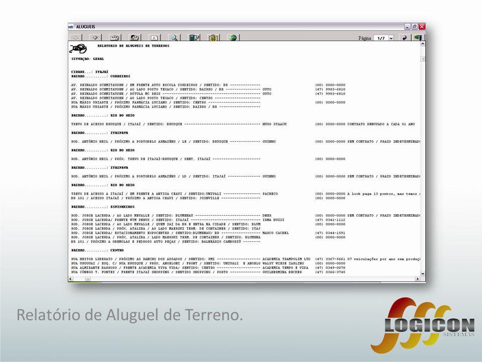 Relatório de Aluguel de Terreno.