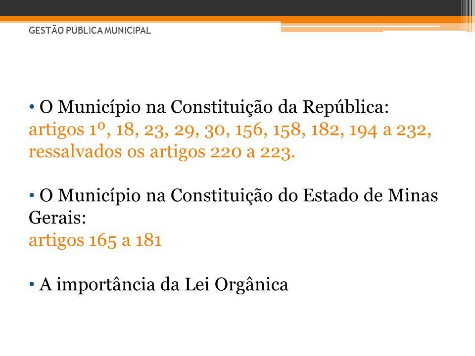 • O Município na Constituição da República: artigos 1º, 18, 23, 29, 30, 156, 158, 182, 194 a 232, ressalvados os artigos 220 a 223. • O Município na C