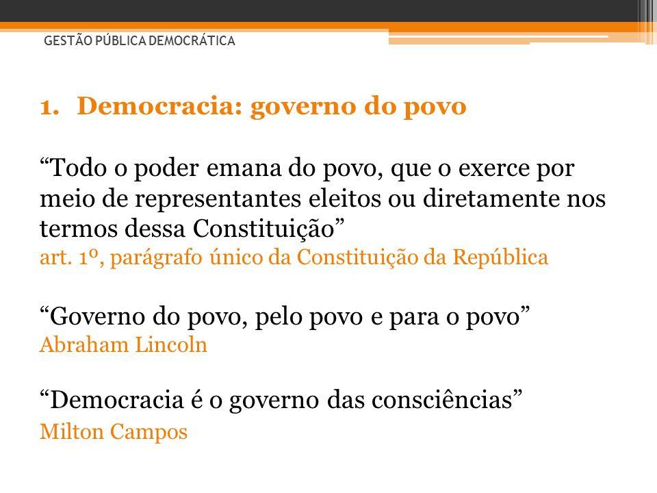 """1.Democracia: governo do povo """"Todo o poder emana do povo, que o exerce por meio de representantes eleitos ou diretamente nos termos dessa Constituiçã"""