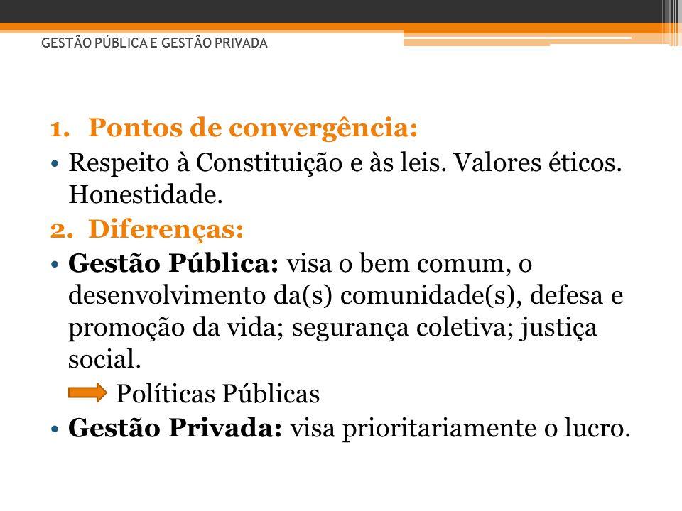 GESTÃO PÚBLICA E GESTÃO PRIVADA 1.Pontos de convergência: •Respeito à Constituição e às leis. Valores éticos. Honestidade. 2.Diferenças: •Gestão Públi