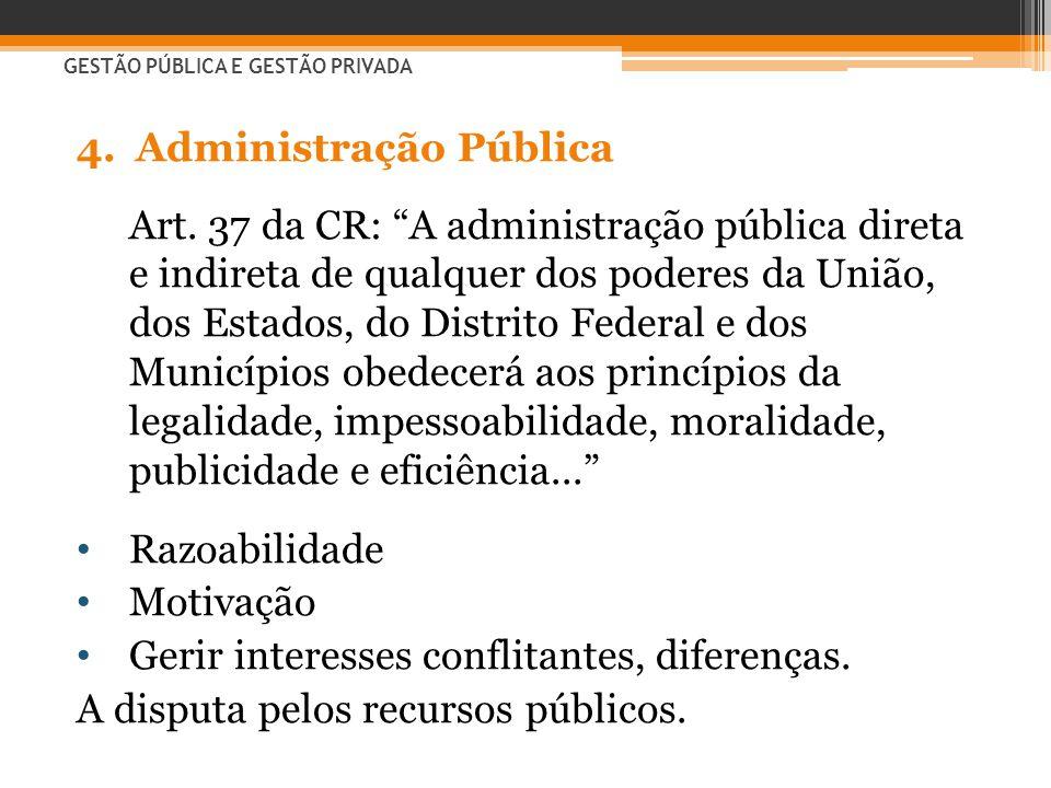 """4.Administração Pública Art. 37 da CR: """"A administração pública direta e indireta de qualquer dos poderes da União, dos Estados, do Distrito Federal e"""