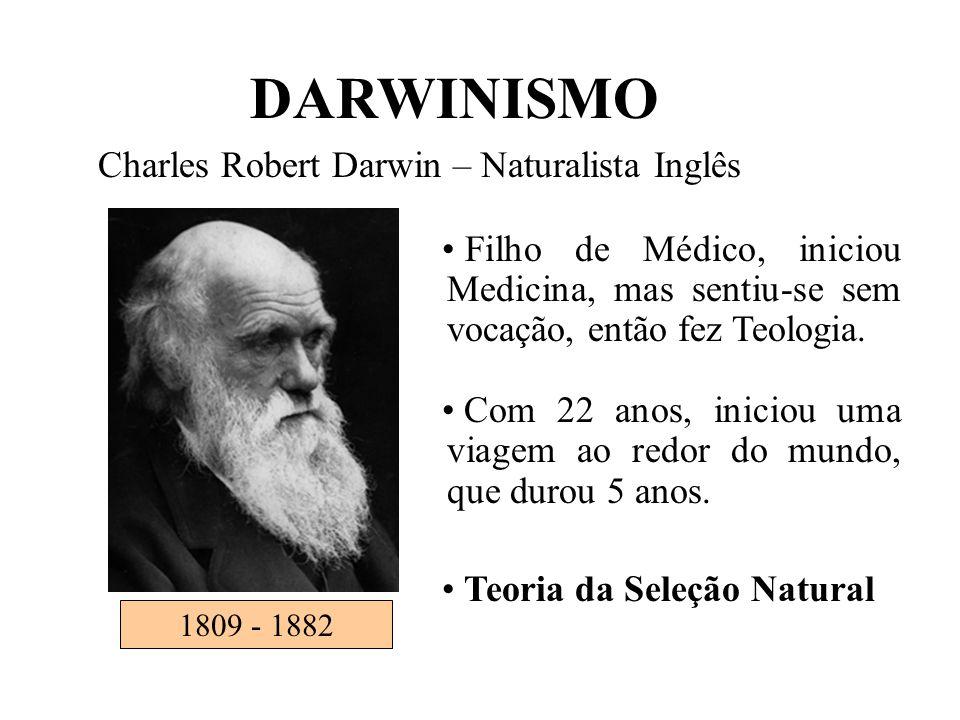 1809 - 1882 DARWINISMO Charles Robert Darwin – Naturalista Inglês • Filho de Médico, iniciou Medicina, mas sentiu-se sem vocação, então fez Teologia.
