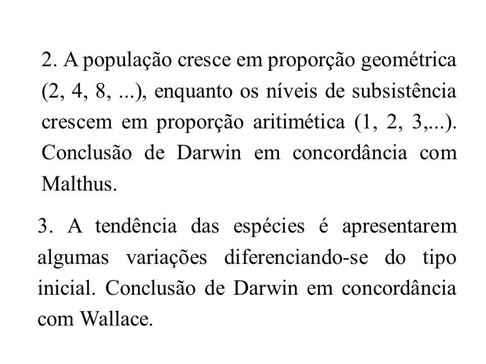 2. A população cresce em proporção geométrica (2, 4, 8,...), enquanto os níveis de subsistência crescem em proporção aritimética (1, 2, 3,...). Conclu