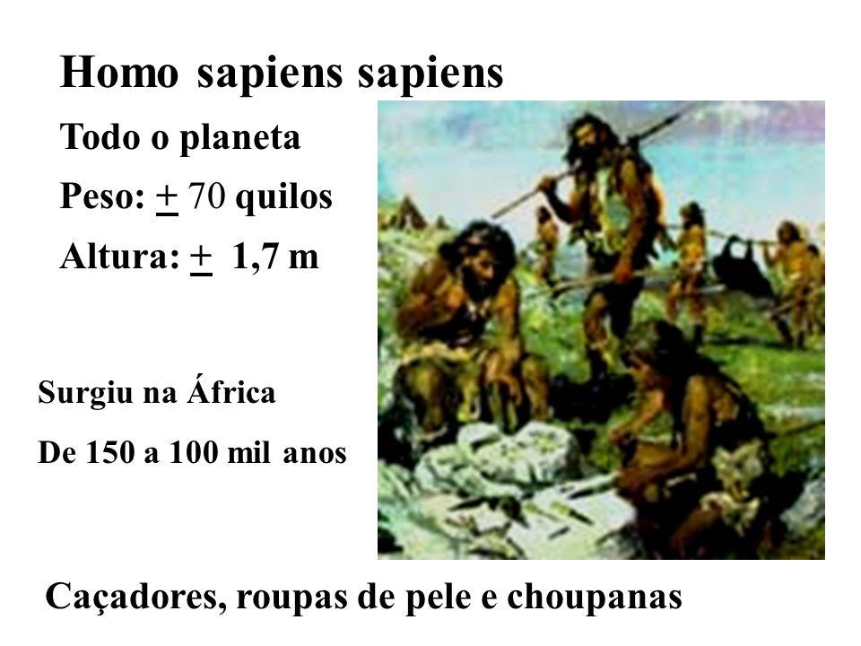 Caçadores, roupas de pele e choupanas Homo sapiens sapiens Todo o planeta Peso: + 70 quilos Altura: + 1,7 m Surgiu na África De 150 a 100 mil anos