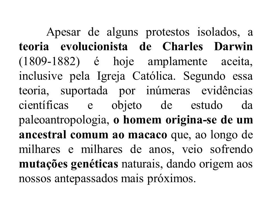Apesar de alguns protestos isolados, a teoria evolucionista de Charles Darwin (1809-1882) é hoje amplamente aceita, inclusive pela Igreja Católica. Se