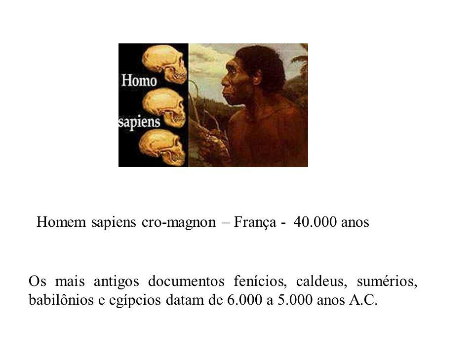 Os mais antigos documentos fenícios, caldeus, sumérios, babilônios e egípcios datam de 6.000 a 5.000 anos A.C. Homem sapiens cro-magnon – França - 40.