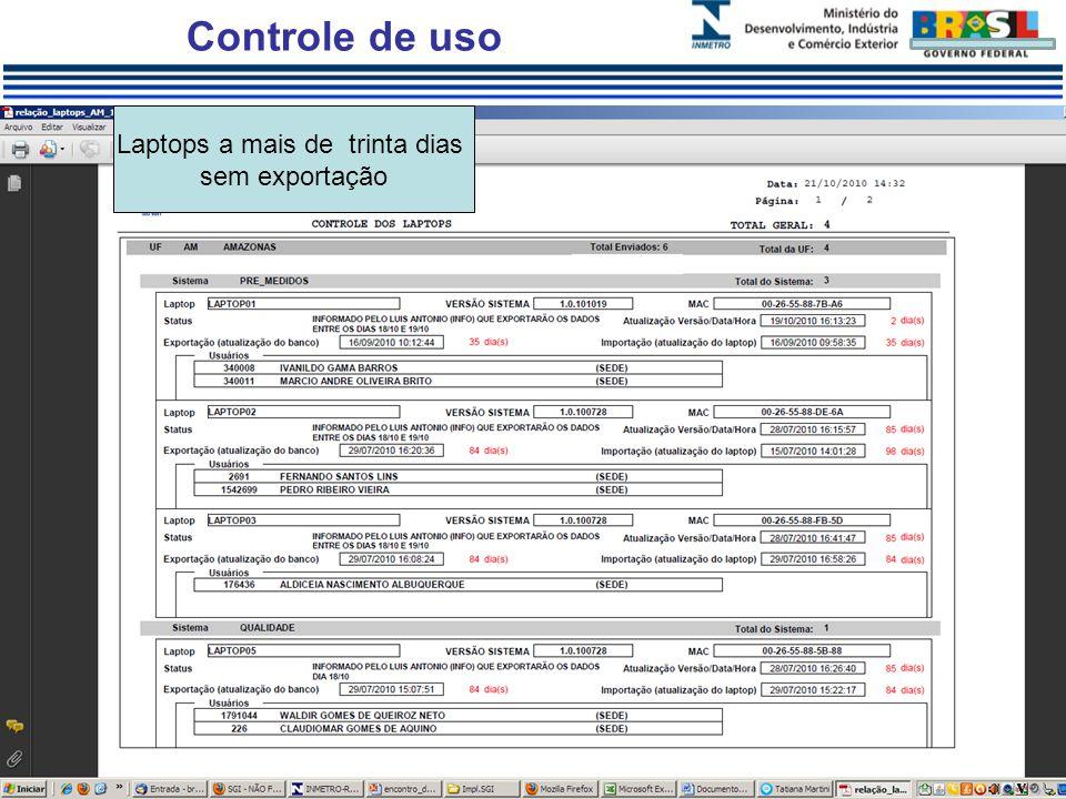Controle de uso Laptops a mais de trinta dias sem exportação