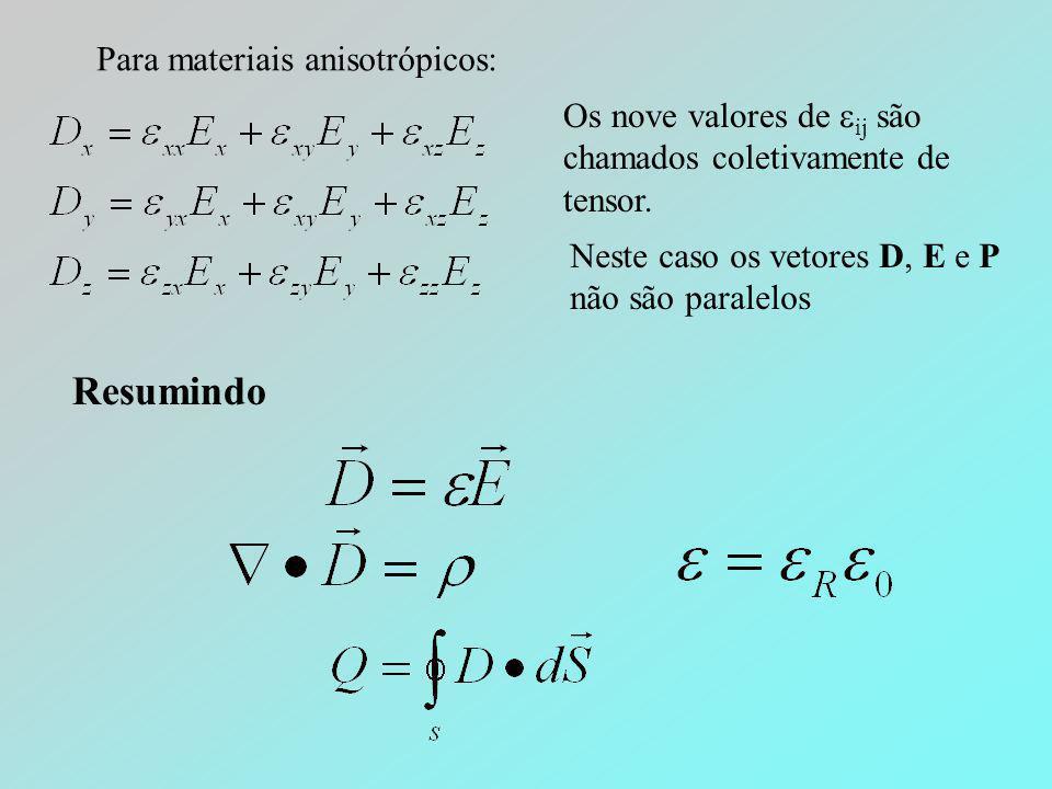 Para materiais anisotrópicos: Os nove valores de  ij são chamados coletivamente de tensor. Neste caso os vetores D, E e P não são paralelos Resumindo
