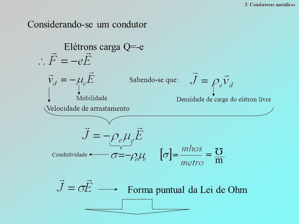 3. Condutores metálicos Considerando-se um condutor Elétrons carga Q=-e Velocidade de arrastamento Mobilidade Sabendo-se que: Densidade de carga do el