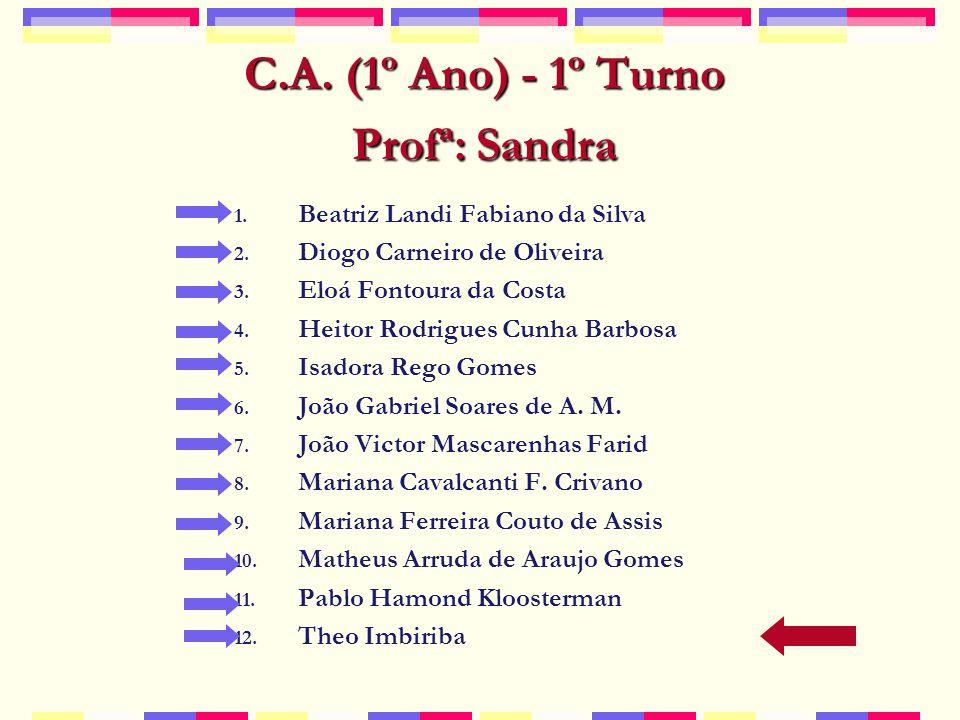 C.A.(1º Ano) - 1º Turno Profª: Sandra 1. Beatriz Landi Fabiano da Silva 2.