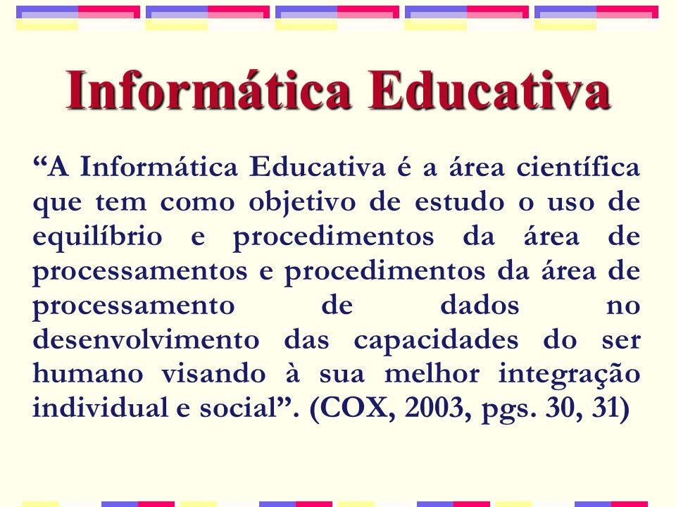 Informática Educativa A Informática Educativa é a área científica que tem como objetivo de estudo o uso de equilíbrio e procedimentos da área de processamentos e procedimentos da área de processamento de dados no desenvolvimento das capacidades do ser humano visando à sua melhor integração individual e social .