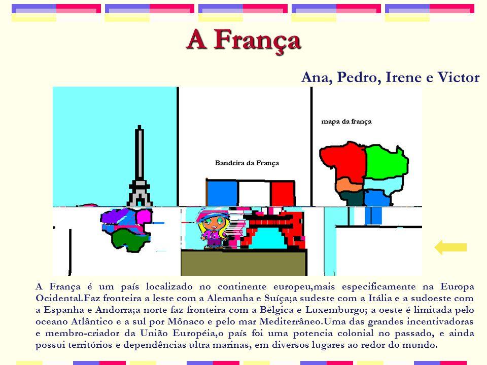 A França A França é um país localizado no continente europeu,mais especificamente na Europa Ocidental.Faz fronteira a leste com a Alemanha e Suíça;a sudeste com a Itália e a sudoeste com a Espanha e Andorra;a norte faz fronteira com a Bélgica e Luxemburgo; a oeste é limitada pelo oceano Atlântico e a sul por Mônaco e pelo mar Mediterrâneo.Uma das grandes incentivadoras e membro-criador da União Européia,o país foi uma potencia colonial no passado, e ainda possui territórios e dependências ultra marinas, em diversos lugares ao redor do mundo.