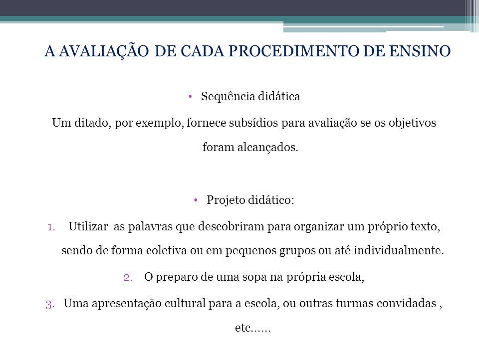 • Sequência didática Um ditado, por exemplo, fornece subsídios para avaliação se os objetivos foram alcançados. • Projeto didático: 1. Utilizar as pal