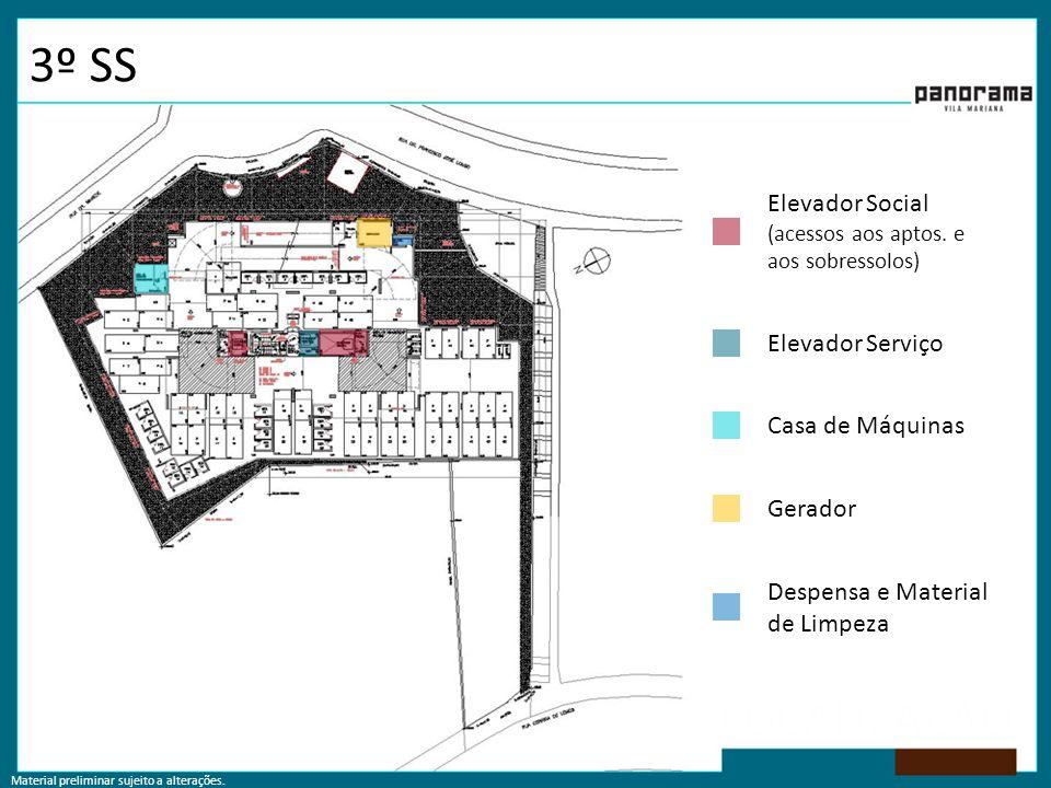 Material preliminar sujeito a alterações. 3º SS Elevador Social (acessos aos aptos. e aos sobressolos) Casa de Máquinas Gerador Despensa e Material de