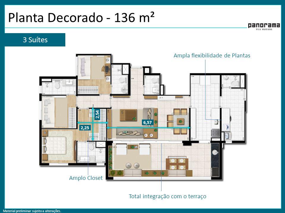 Material preliminar sujeito a alterações. Planta Decorado - 136 m² 2,25 2,54 Amplo Closet 6,57 Total integração com o terraço Ampla flexibilidade de P