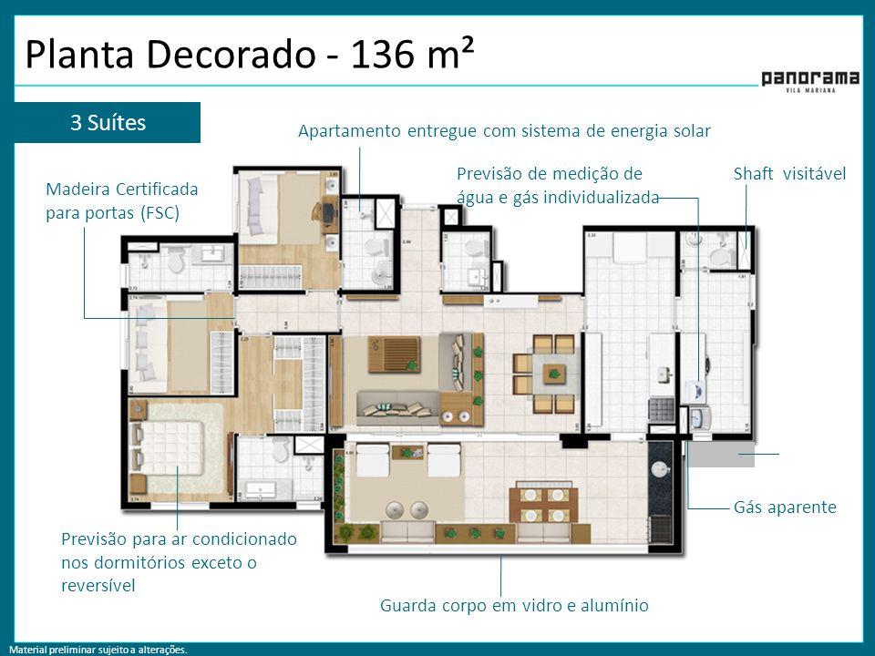Material preliminar sujeito a alterações. Planta Decorado - 136 m² 3 Suítes Apartamento entregue com sistema de energia solar Previsão para ar condici