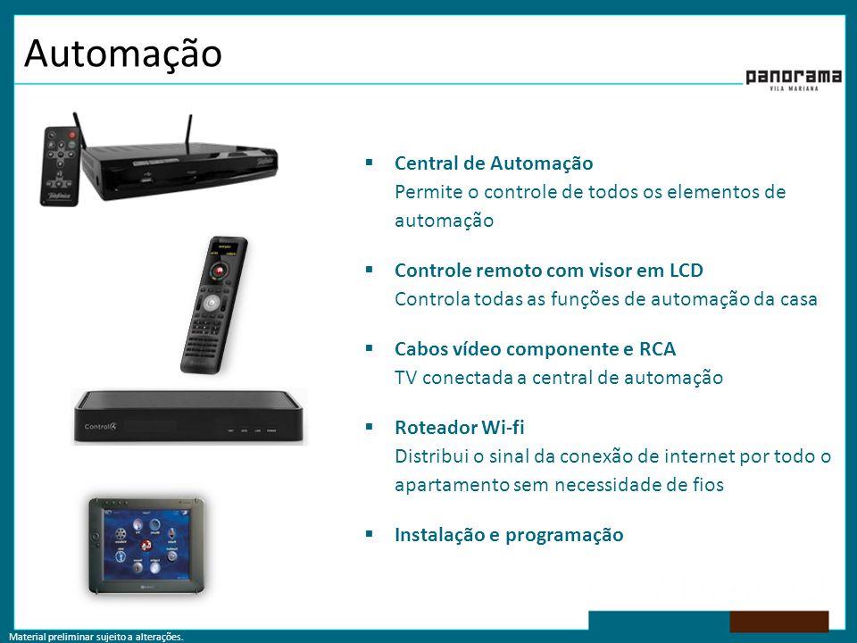 Automação  Central de Automação Permite o controle de todos os elementos de automação  Controle remoto com visor em LCD Controla todas as funções de