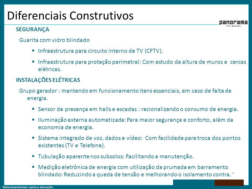 Material preliminar sujeito a alterações. Diferenciais Construtivos SEGURANÇA Guarita com vidro blindado  Infraestrutura para circuito interno de TV