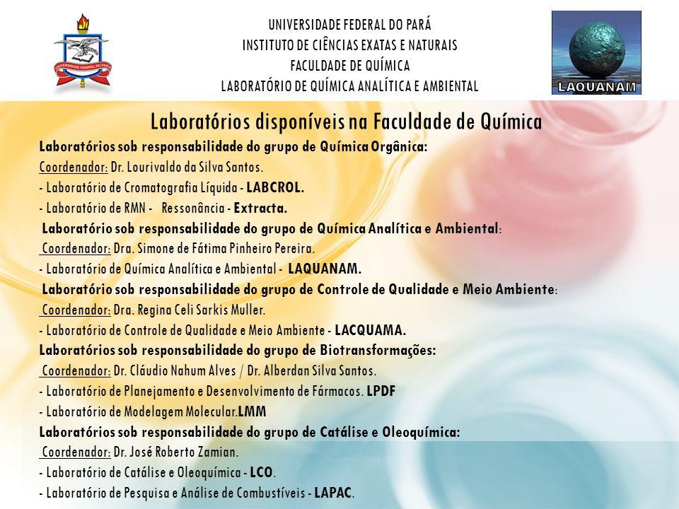 UNIVERSIDADE FEDERAL DO PARÁ INSTITUTO DE CIÊNCIAS EXATAS E NATURAIS FACULDADE DE QUÍMICA LABORATÓRIO DE QUÍMICA ANALÍTICA E AMBIENTAL Laboratórios sob responsabilidade do grupo de Química Orgânica: Coordenador: Dr.