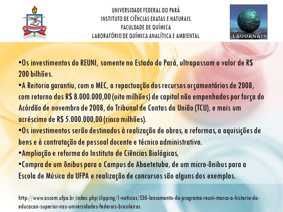 UNIVERSIDADE FEDERAL DO PARÁ INSTITUTO DE CIÊNCIAS EXATAS E NATURAIS FACULDADE DE QUÍMICA LABORATÓRIO DE QUÍMICA ANALÍTICA E AMBIENTAL • Os investimentos do REUNI, somente no Estado do Pará, ultrapassam o valor de R$ 200 bilhões.