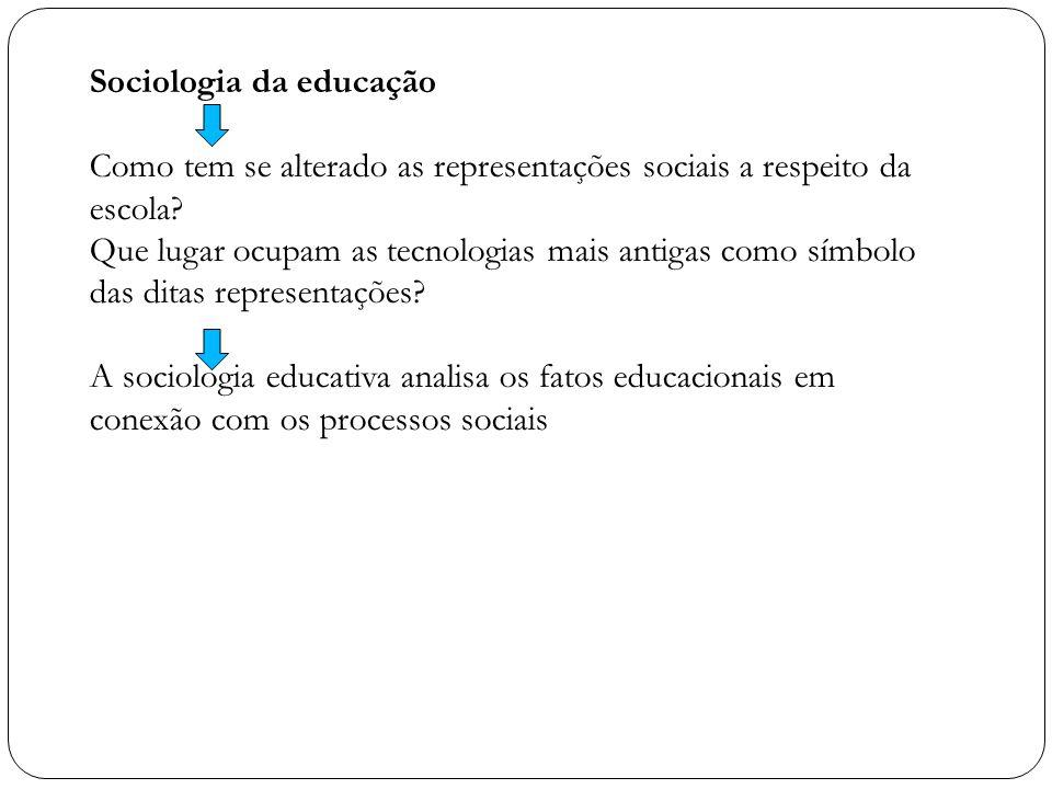 Sociologia da educação Como tem se alterado as representações sociais a respeito da escola? Que lugar ocupam as tecnologias mais antigas como símbolo