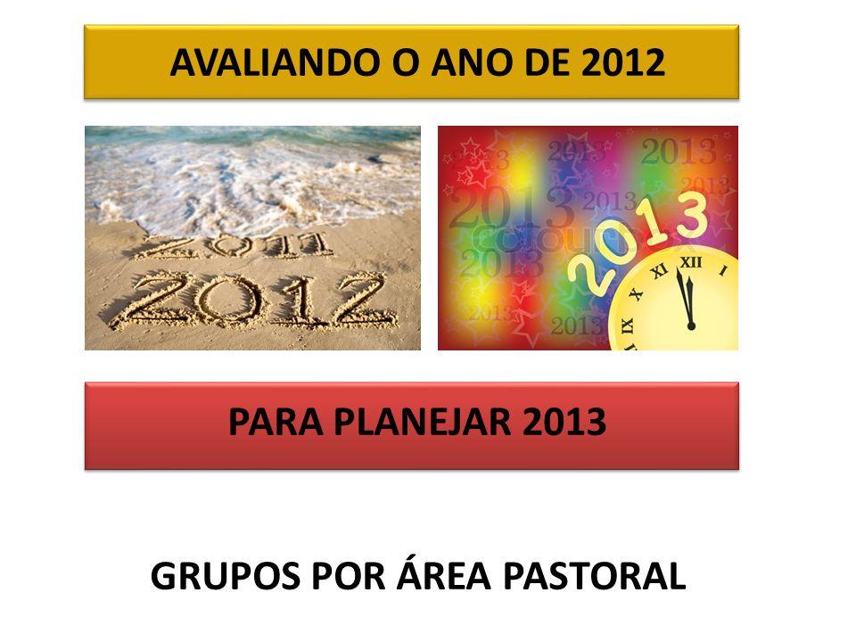 AVALIANDO O ANO DE 2012 PARA PLANEJAR 2013 GRUPOS POR ÁREA PASTORAL