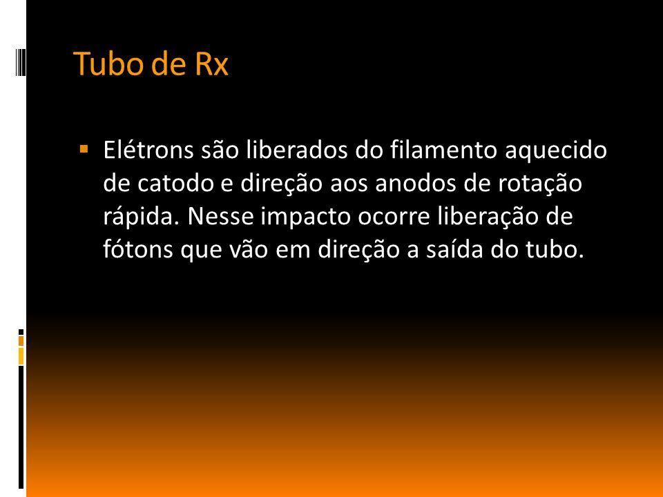 Tubo de Rx  Elétrons são liberados do filamento aquecido de catodo e direção aos anodos de rotação rápida. Nesse impacto ocorre liberação de fótons q