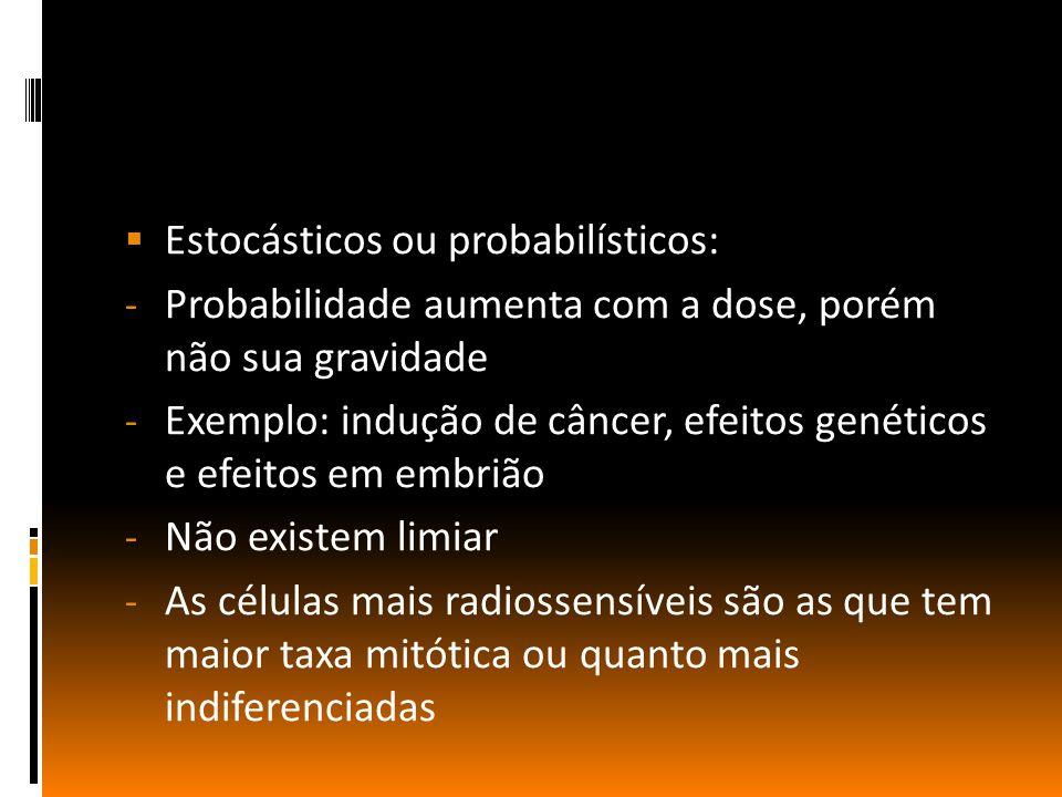  Estocásticos ou probabilísticos: - Probabilidade aumenta com a dose, porém não sua gravidade - Exemplo: indução de câncer, efeitos genéticos e efeitos em embrião - Não existem limiar - As células mais radiossensíveis são as que tem maior taxa mitótica ou quanto mais indiferenciadas