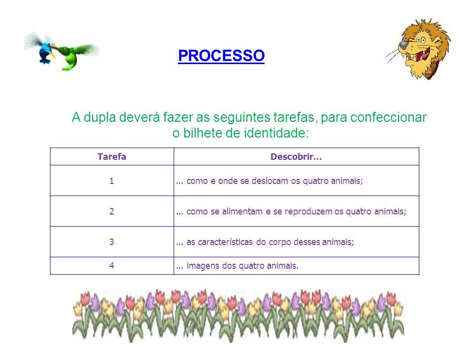 PROCESSO A dupla deverá fazer as seguintes tarefas, para confeccionar o bilhete de identidade: TarefaDescobrir... 1... como e onde se deslocam os quat