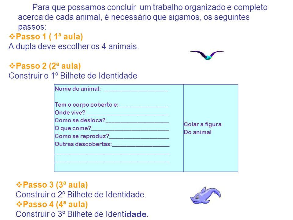 Para que possamos concluir um trabalho organizado e completo acerca de cada animal, é necessário que sigamos, os seguintes passos:  Passo 1 ( 1ª aula