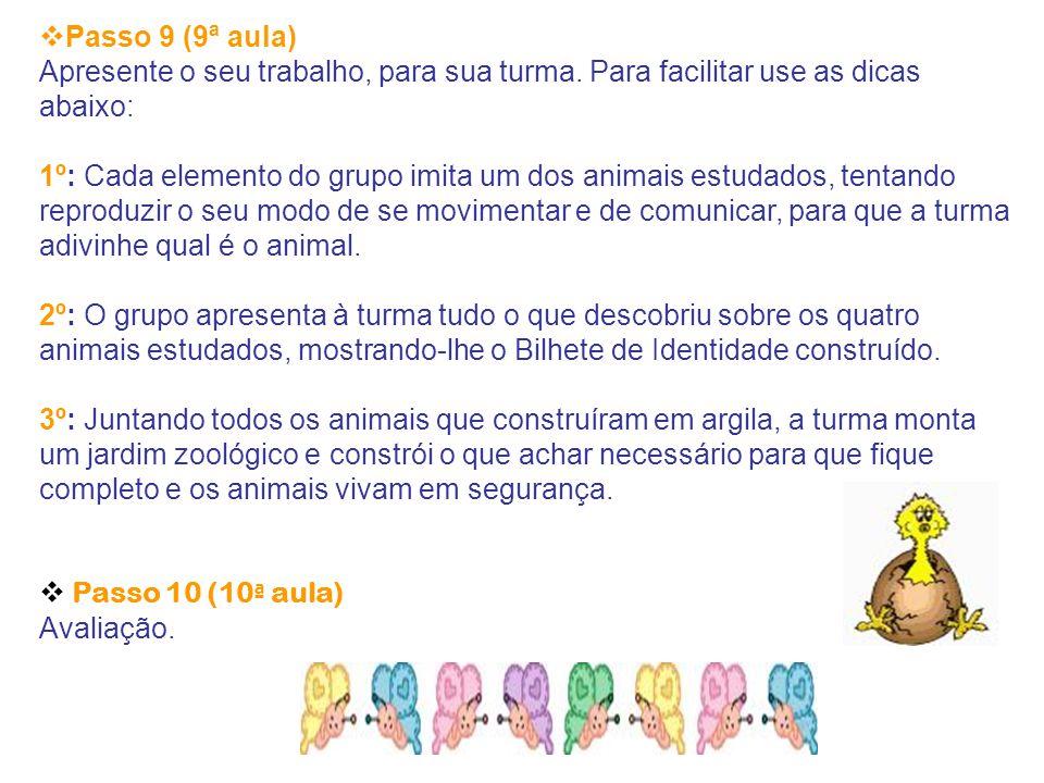 Passo 9 (9ª aula) Apresente o seu trabalho, para sua turma. Para facilitar use as dicas abaixo: 1º: Cada elemento do grupo imita um dos animais estu